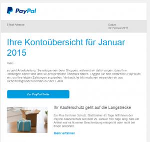 PayPal Kontoübersicht